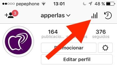 Botón estadísticas de instagram