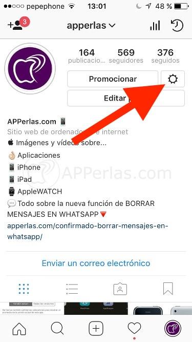 botón ajustes en Instagram 2