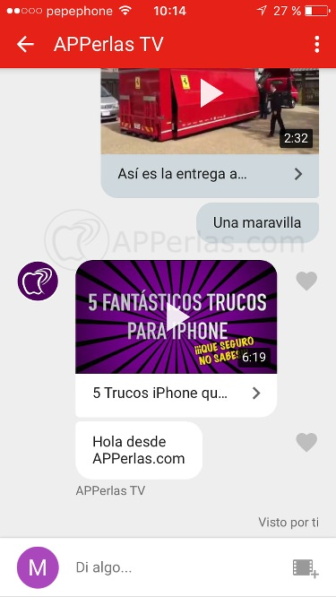 Interfaz del chat de vídeo en Youtube