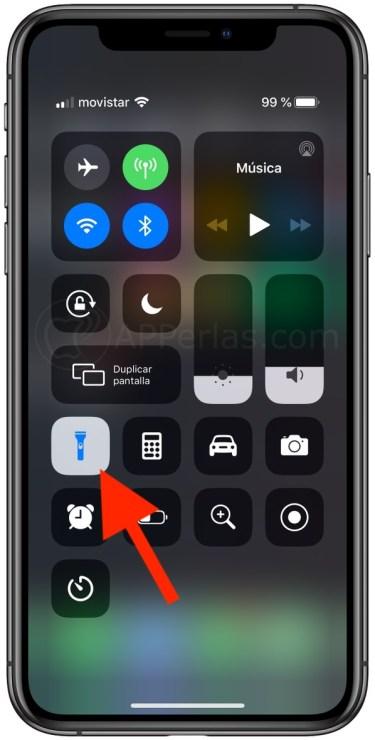 Botón de la linterna del iPhone