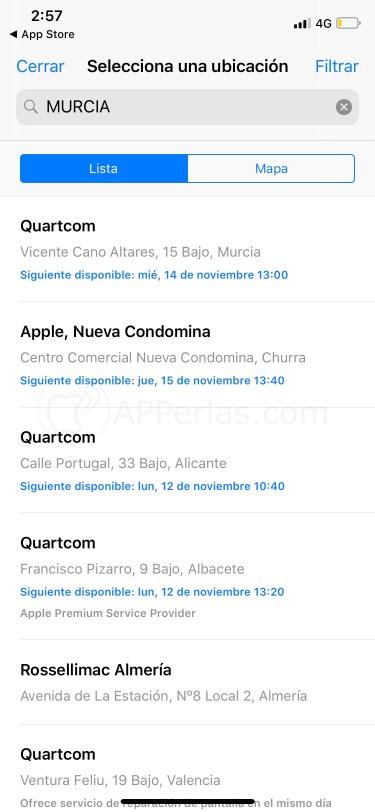 Elige la cita en la Apple Store que desees