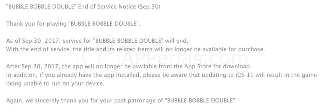 Anuncio de desaparición de la app