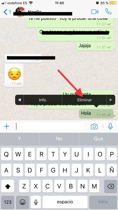 eliminar mensajes en WhatsApp 1