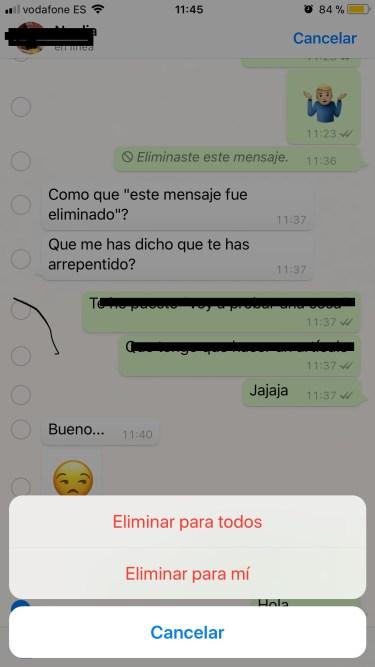 eliminar mensajes en WhatsApp 2