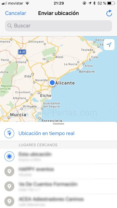 Ubicación de whatsapp en tiempo real