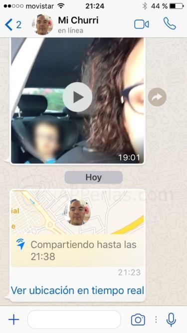 Ubicación de whatsapp en directo