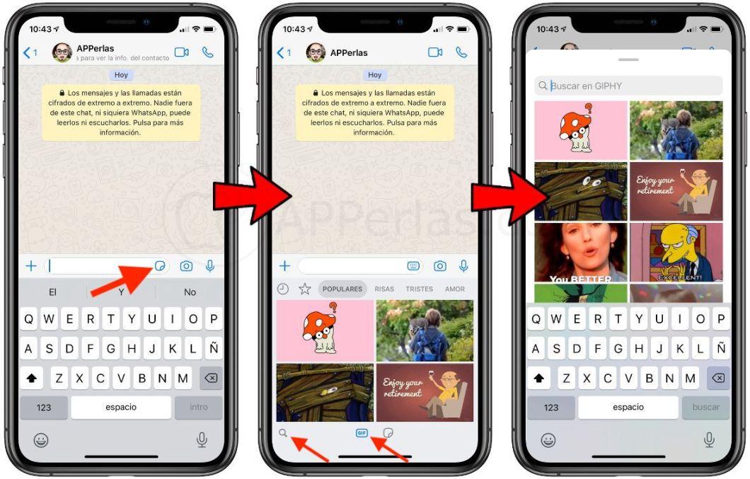 Proceso para acceder al buscador GIF de WhatsApp