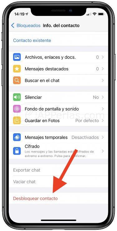 whatsapp desbloquear contacto 2021