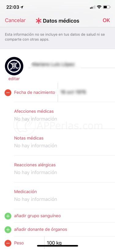 Historial médico en iOS 11.3