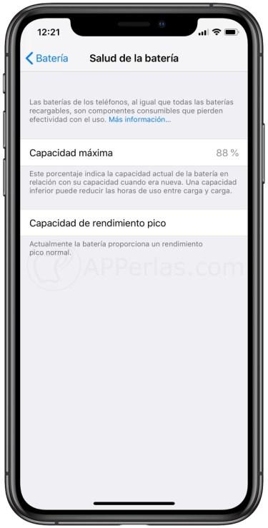 Información sobre la pila del iPhone