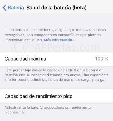 Salud Batería iOS 11.3