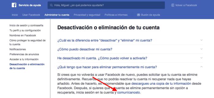 borrar una cuenta de Facebook 2