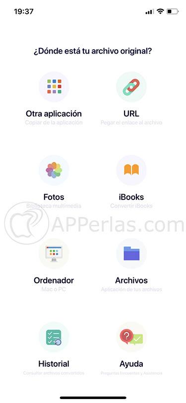 Convertir archivos desde iPhone iPad 3