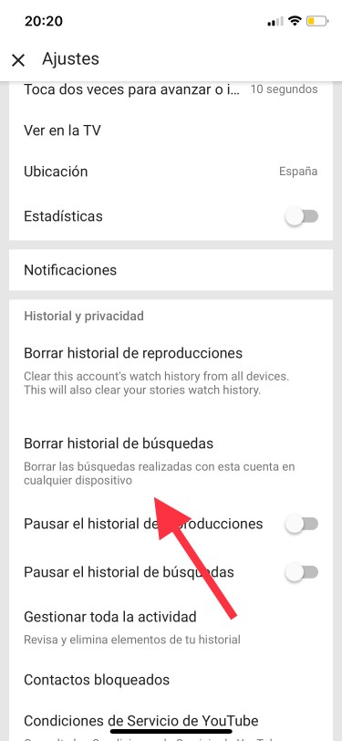 el historial de YouTube 1
