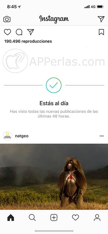 capturas de pantalla de las stories VUELTA DEL ORDEN CRONOLÓGICO EN INSTAGRAM 1