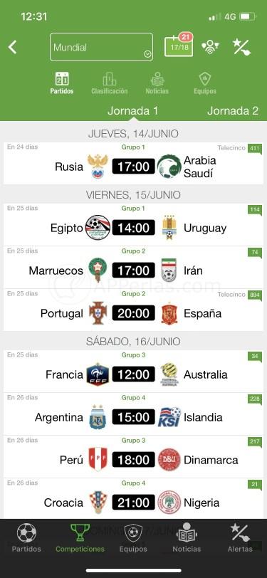 App Resultados de Fútbol