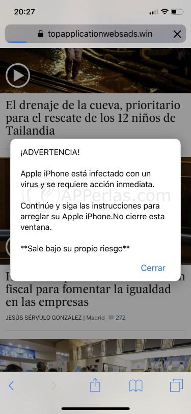 Aviso de Virus en iPhone