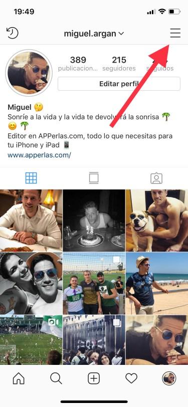botón ajustes en Instagram 1