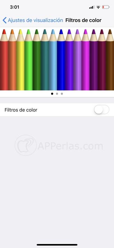 Activa los filtros de color