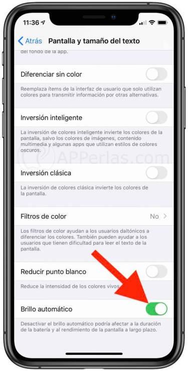 Opción de brillo automático en iOS