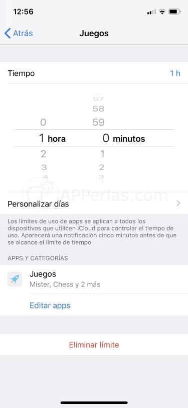 Controla el tiempo de uso de las apps
