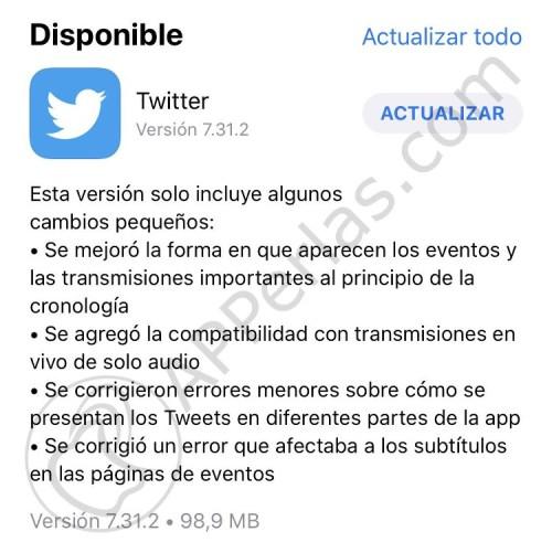 Actualización de Twitter 7.31.2