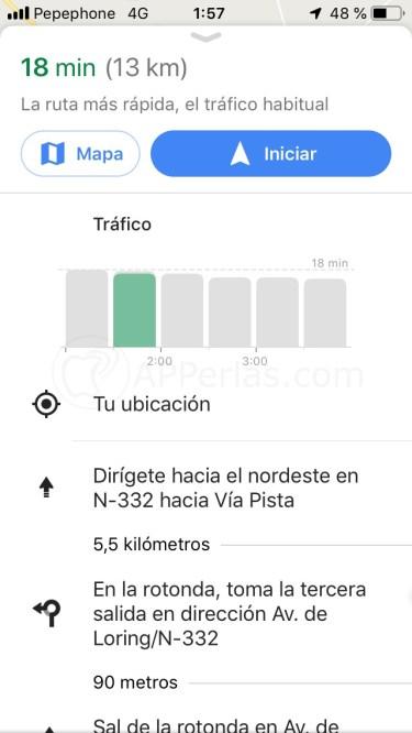 Tiempo de ruta con tráfico actual