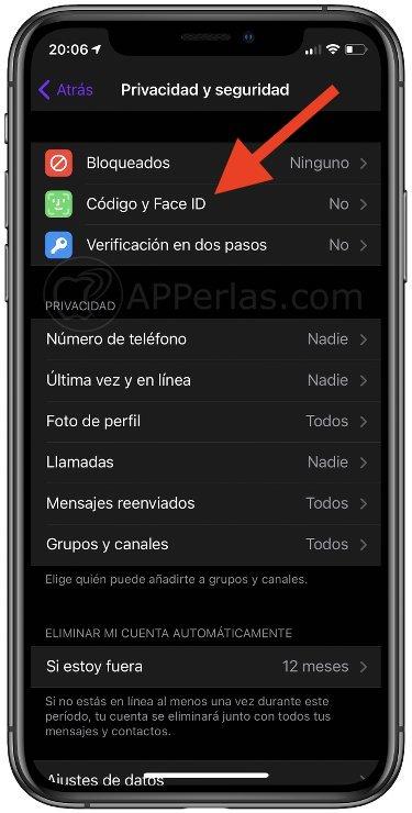 Activar Código y Face ID en Telegram