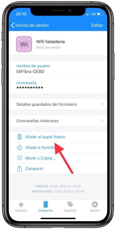 contraseñas del iPhone al Apple Watch 2