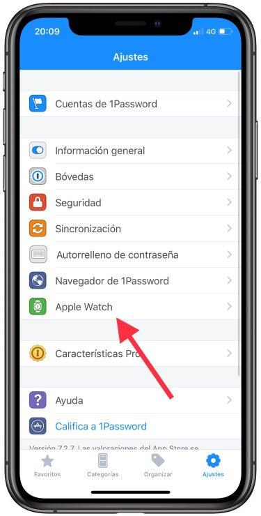 contraseñas del iPhone al Apple Watch 1
