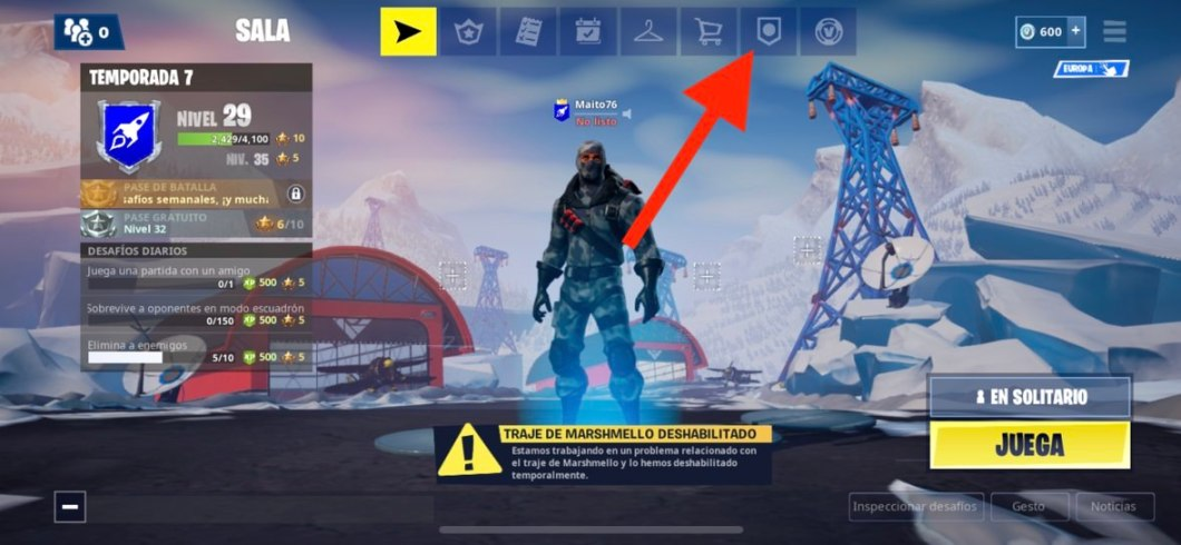 Acceso a estadísticas Fortnite