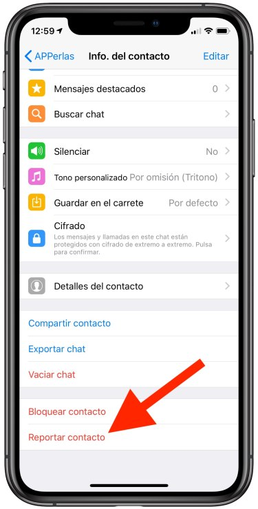 Option to report contact