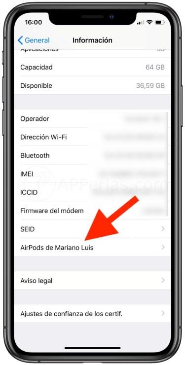 Airpods en ajustes de iOS