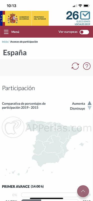 app para seguir elecciones Locales y Europeas españa 26m 26 de mayo 3