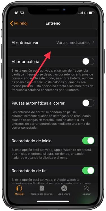 pantalla de entreno en el Apple Watch 1