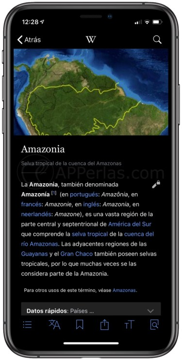 Artículo de la Wikipedia en iPhone