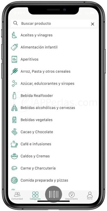 Categorías de alimentos