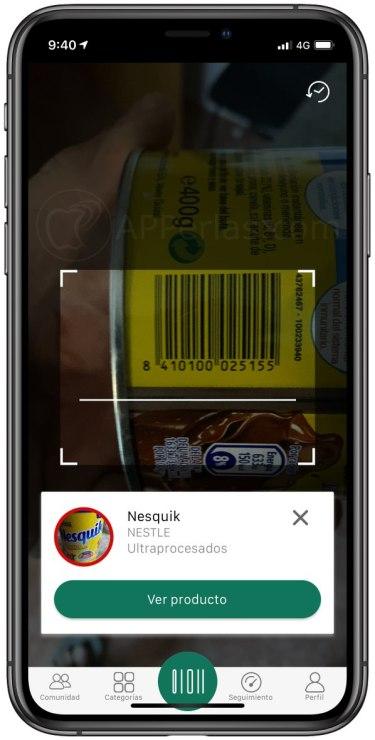 Escáner de la app MyRealFood