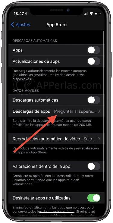 Desactiva el límite de 200 mb en las descargas de apps