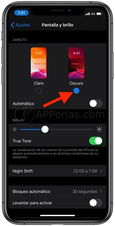 Modo Oscuro iOS 13