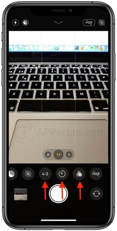 Formato, temporizador y filtros de la cámara del iPhone