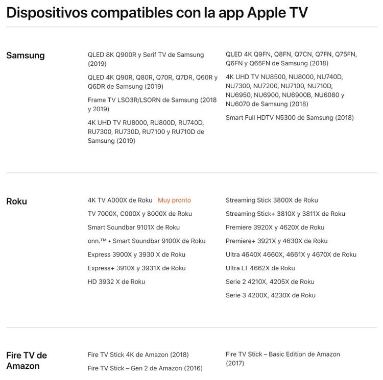 Televisiones compatibles con Apple TV+