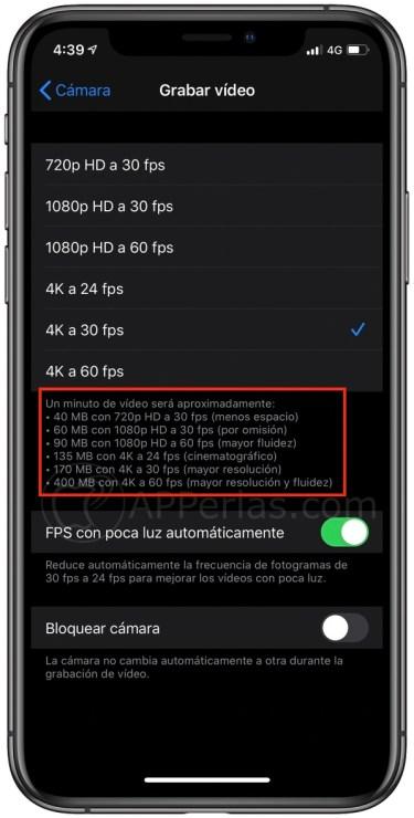 Cuanto ocupa un minuto de vídeo grabado con el iPhone