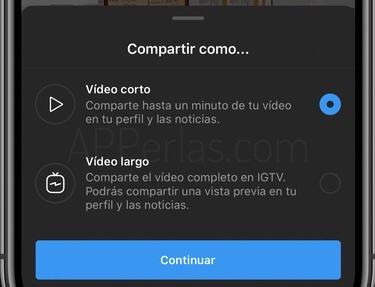 Compartir en Instagram o IGTV