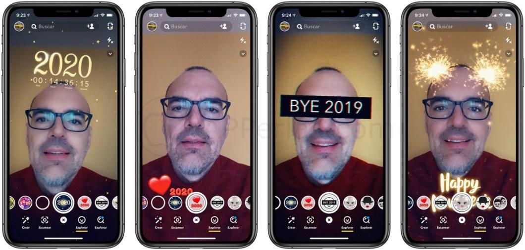 Felicitaciones de año nuevo en Snapchat