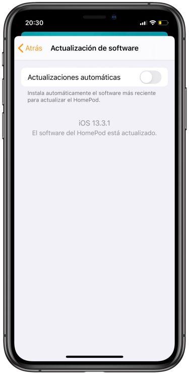 actualizaciones automáticas del HomePod 2