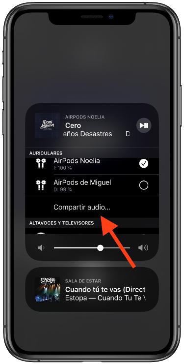 música con dos AirPods 2