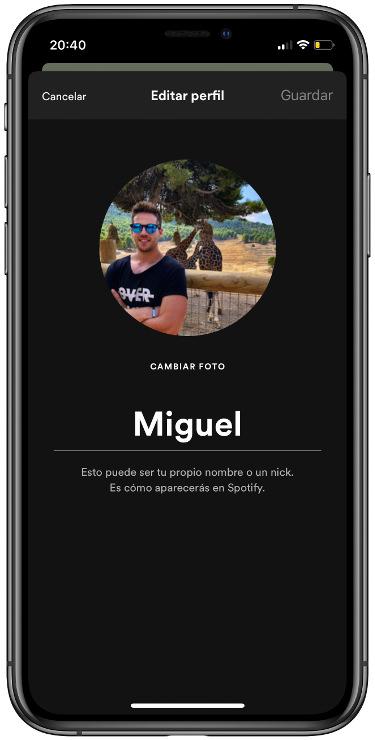editar el perfil de Spotify 1