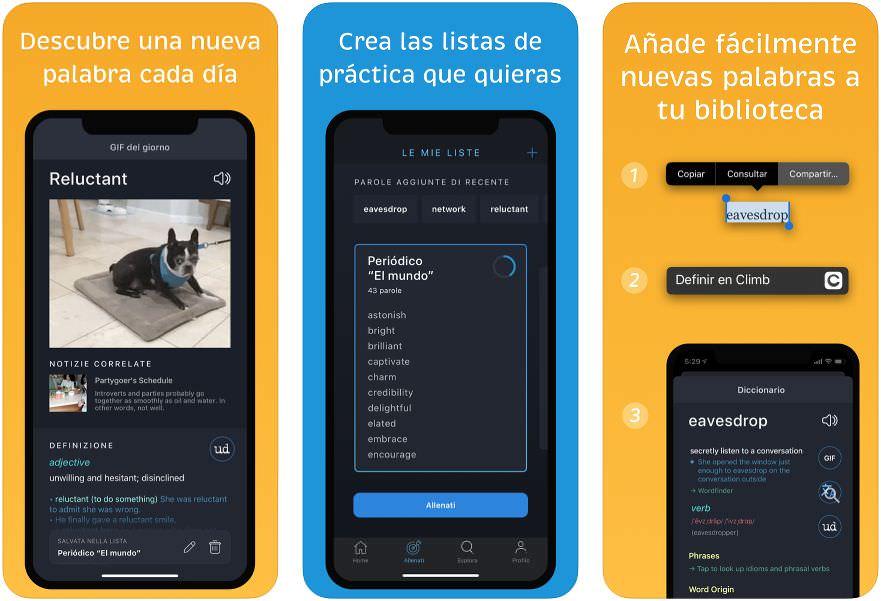 Capturas de la app Climb