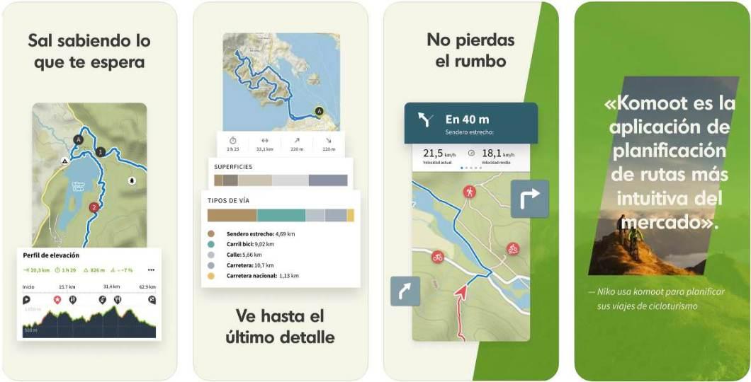 Capturas de la app Komoot